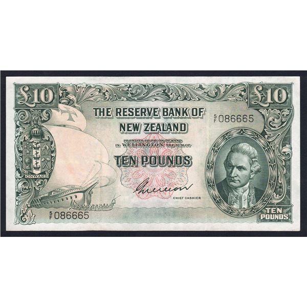 "NEW ZEALAND 10 Pounds. 1955. Sig Wilson. PREFIX ""NUMBER/LETTER"""