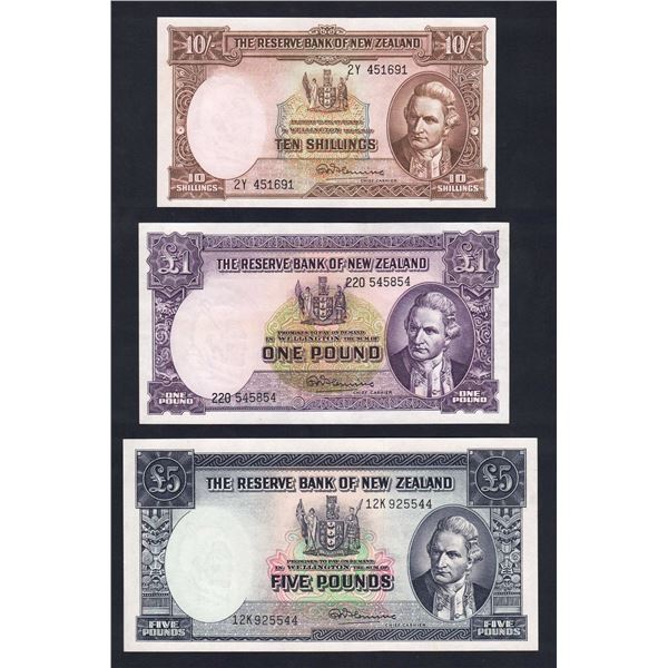 NEW ZEALAND 10 Shillings, 1 & 5 Pounds 1960. Sig Fleming. With Thread. SET OF 3 VALUES