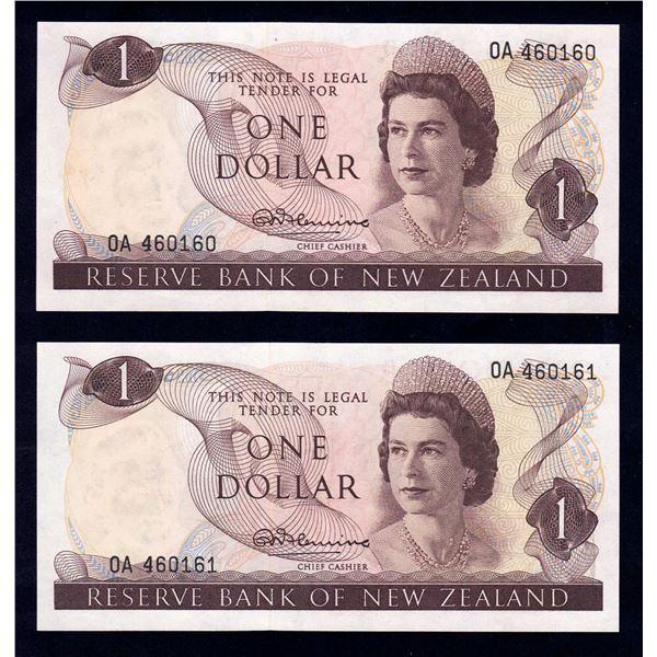 "NEW ZEALAND 1 Dollar. 1967. Sig Fleming. 1ST PREFIX ""0A"" CONSECUTIVE PAIR"