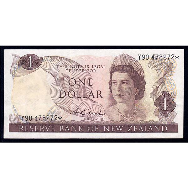 "NEW ZEALAND 1 Dollar. 1968. Sig Wilks. SCARCE PREFIX ""Y90"" REPLACEMENT"