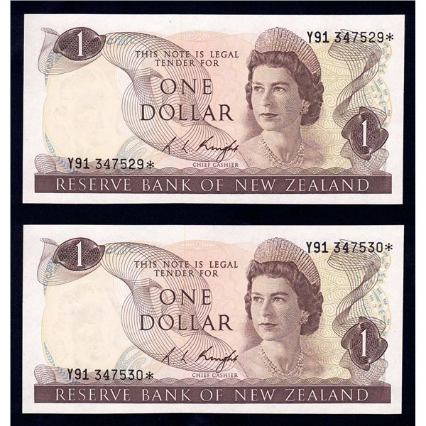 """NEW ZEALAND 1 Dollar. 1975. Sig Knight. PREFIX """"Y91"""" REPLACEMENT. Consecutive Pair"""