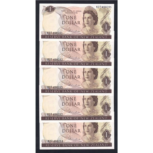 NEW ZEALAND 1 Dollar. 1977. Sig Hardie. CONSECUTIVE RUN OF 5