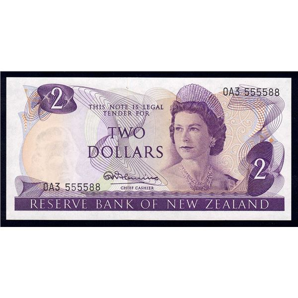 """NEW ZEALAND 2 Dollars. 1967. Sig Fleming. LUCKY NUMBER """"555588"""""""