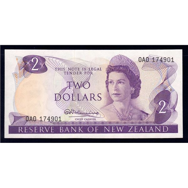 "NEW ZEALAND 2 Dollars. 1967. Sig Fleming. SCARCE 1ST PREFIX ""0A0"""
