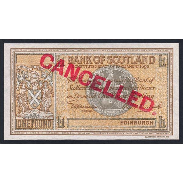 SCOTLAND Bank of Scotland. 1 Pound. (1935). Sig Elphinstone-Beveridge. SPECIMEN