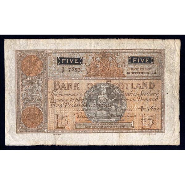 SCOTLAND Bank of Scotland. 5 Pounds. 10.9.1941. Sig Elphinstone-Macfarlane