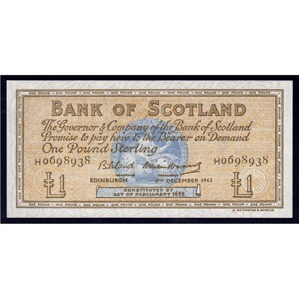SCOTLAND Bank of Scotland. 1 Pound. 4.12.1962. Sig Bilsland-Watson