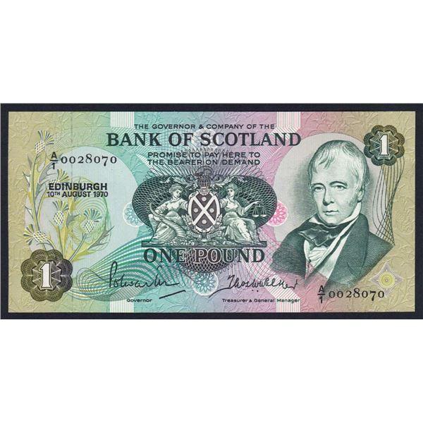 "SCOTLAND Bank of Scotland. 1 Pound. 10.8.1970. Sig Polwarth-Walker. 1ST PREFIX ""A/1"""