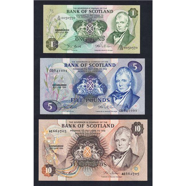 SCOTLAND Bank of Scotland. 1, 5 & 10 Pounds. 1981-82. Sig Risk-Pattullo. SET OF 3 NOTES