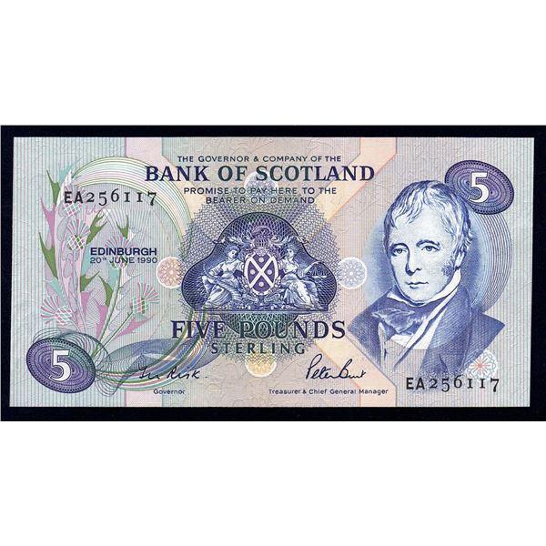 "SCOTLAND Bank of Scotland. 5 Pounds. 20.6.1990. Sig Risk-Burt. 1ST PREFIX ""EA"""