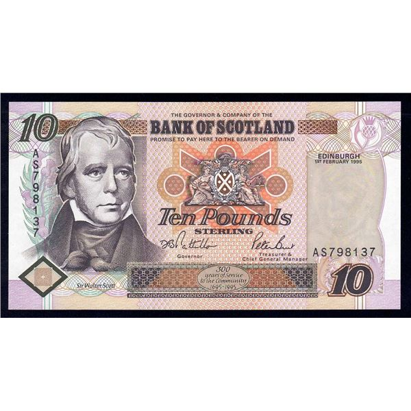 SCOTLAND Bank of Scotland. 10 Pounds. 1.2.1995. Sig Pattullo-Burt. BANK TERCENTENARY