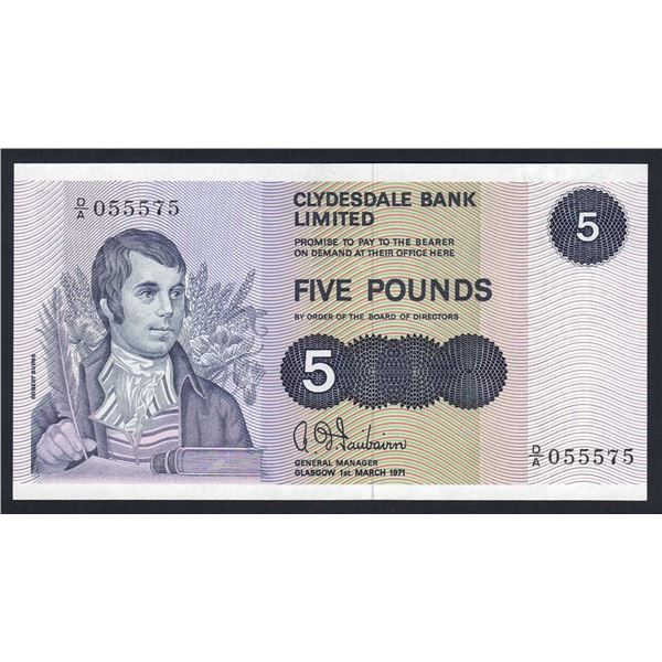 "SCOTLAND Clydesdale Bank. 5 Pounds. 1.3.1971. Sig Fairbairn. 1ST PREFIX ""D/A"""