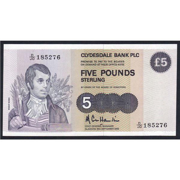 SCOTLAND Clydesdale Bank. 5 Pounds. 18.9.1986. Sig Cole Hamilton. W/O SORT CODE