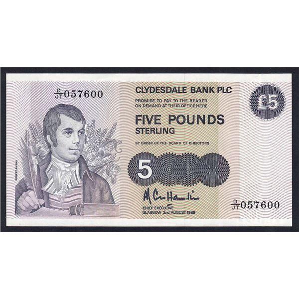 """SCOTLAND Clydesdale Bank. 5 Pounds. 2.8.1988. Sig Cole Hamilton. 1ST PREFIX """"D/JT"""""""
