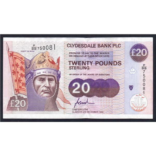 SCOTLAND Clydesdale Bank. 20 Pounds. 2.12.1996. Sig Goodwin. ROBERT THE BRUCE!
