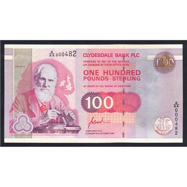 """SCOTLAND Clydesdale Bank. 100 Pounds. 2.10.1996. Sig Goodwin. LOW NUMBER """"000482"""""""