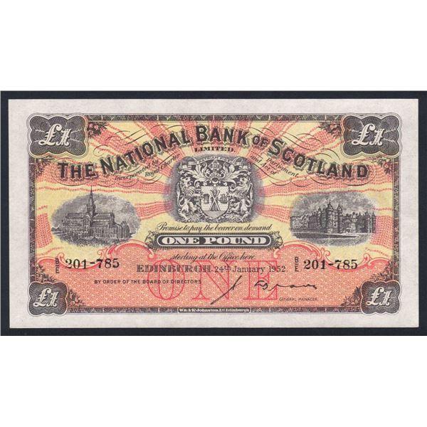 SCOTLAND National Bank of Scotland. 1 Pound. 24.1.1952. Sig Brown. SUPERB DESIGN!