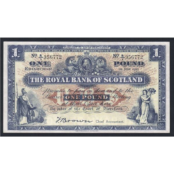 SCOTLAND Royal Bank of Scotland. 1 Pound. 1.6.1950. Sig Brown. LOVELY GRADE!