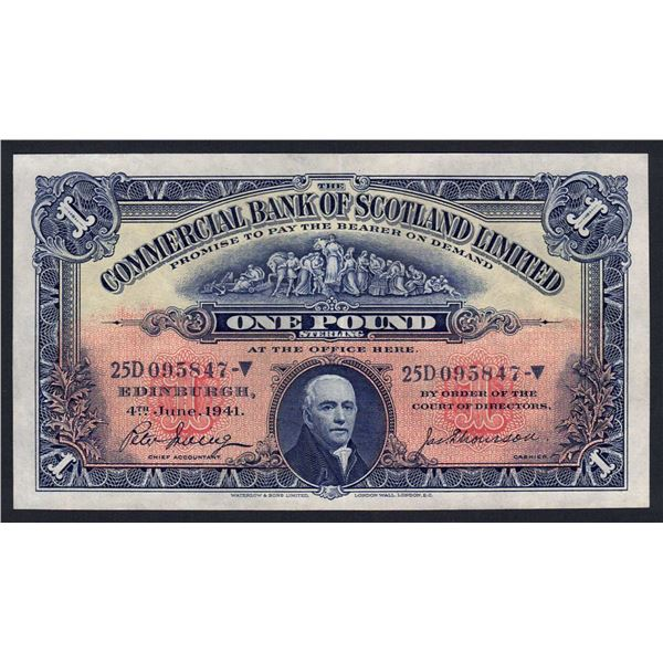 SCOTLAND Commercial Bank of Scotland. 1 Pound. 4.6.1941. Sig Irving-Thomson