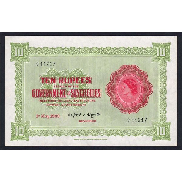 SEYCHELLES 10 Rupees. 1.5.1963. QEII PORTRAIT. Sig Asquith