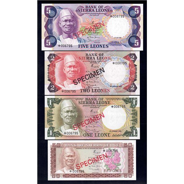 SIERRA LEONE 50 Cents to 5 Leones. (1978) 1979. SPECIMEN SET OF 4