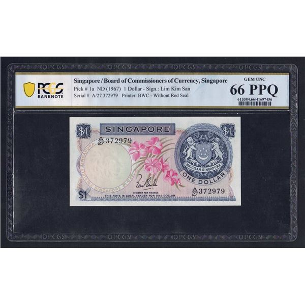 SINGAPORE 1 Dollar. 1967. ORCHID SERIES. Sig Lim Kim San