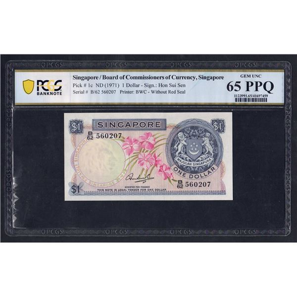 SINGAPORE 1 Dollar. 1971. ORCHID SERIES. Sig Hon Sui Sen. W/O RED SEAL