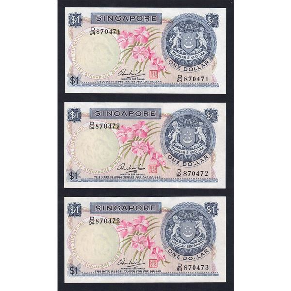 SINGAPORE 1 Dollar. 1972. ORCHID SERIES. Sig Hon Sui Sen. Red Seal. CONSECUTIVE TRIO