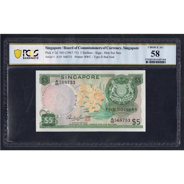 "SINGAPORE 5 Dollars. 1973. ORCHID SERIES. Sig Hon Sui Sen. Red Seal. LAST PREFIX ""A/45"""