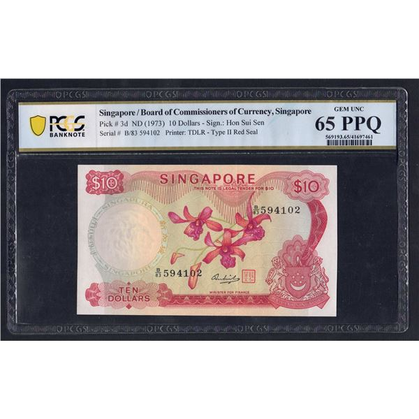 SINGAPORE 10 Dollars. 1973. ORCHID SERIES. Sig Hon Sui Sen. RED SEAL