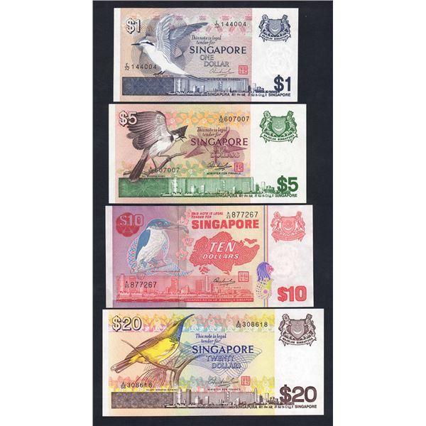 SINGAPORE 1 Dollar to 20 Dollars. 1976-80. BIRD SERIES. Sig Hon Sui Sen. SET OF 4 NOTES