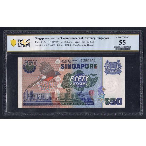 SINGAPORE 50 Dollars. 1976. BIRD SERIES. Sig Hon Sui Sen. SEGMENTED THREAD
