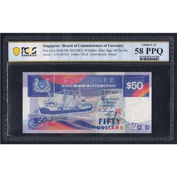 SINGAPORE 50 Dollars. 1987. SHIP SERIES. Sig Hu Tsu Tau. SOLID THREAD