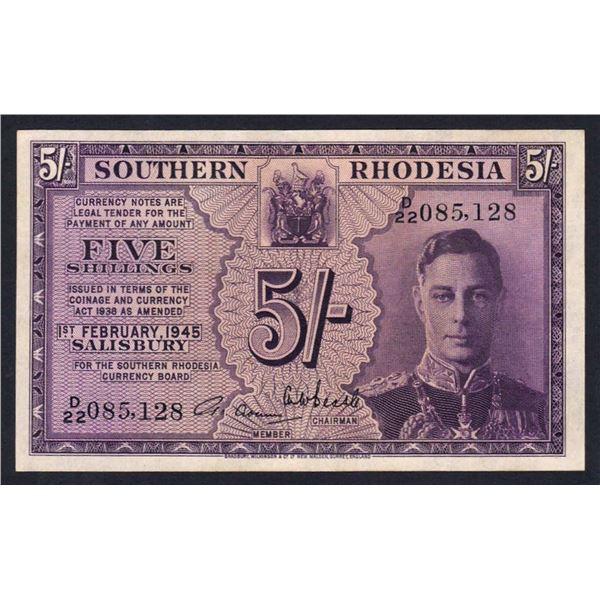 SOUTHERN RHODESIA 5 Shillings. 1.2.1945. GEORGE VI PORTRAIT. Sig Adams-Beadle