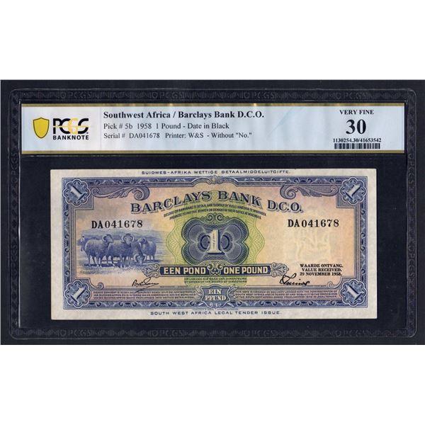 "SOUTHWEST AFRICA Barclays Bank. 1 Pound. 29.11.1958. W/O ""NO."" BEFORE SERIALS"