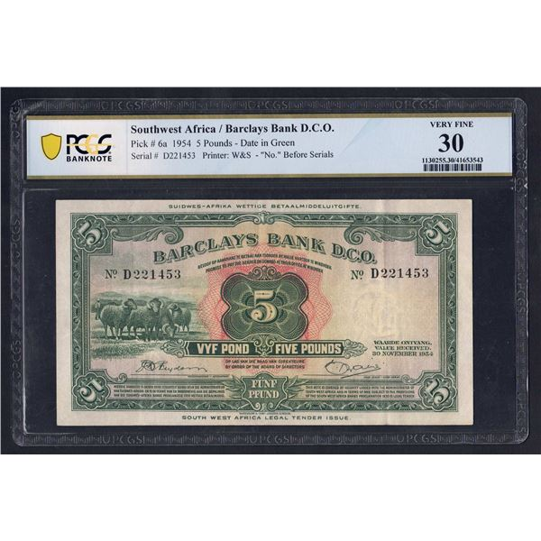 """SOUTHWEST AFRICA Barclays Bank. 5 Pounds. 30.11.1954. WITH """"NO."""" BEFORE SERIALS"""