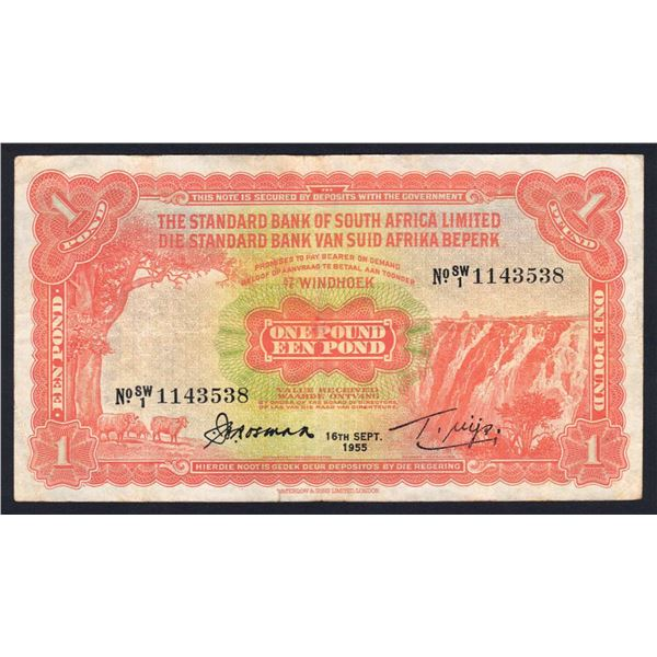 SOUTHWEST AFRICA Standard Bank of S.A. 1 Pound. 16.9.1955. BLACK DATE