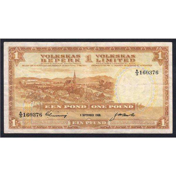 SOUTHWEST AFRICA Volkskas Bank. 1 Pound. 1.9.1958. Sig Linning-Hurter