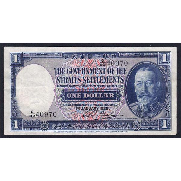 STRAITS SETTLEMENTS 1 Dollar. 1.1.1935. GEORGE V PORTRAIT. Sig Small