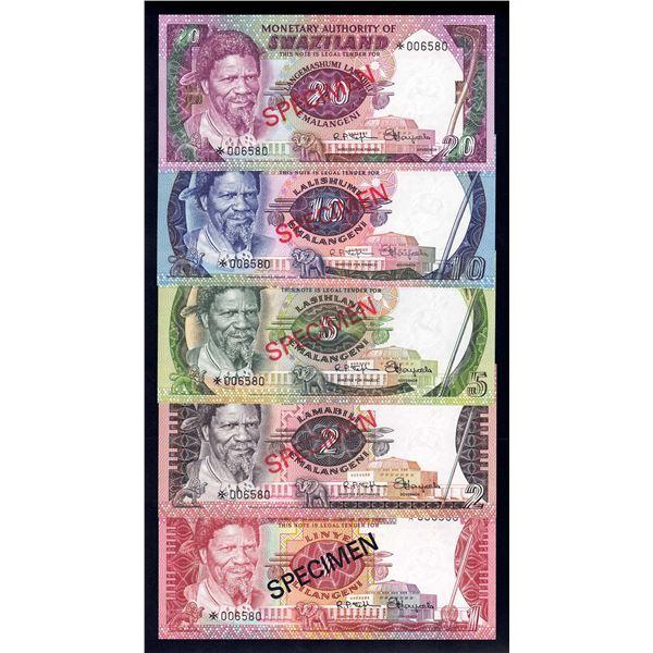 SWAZILAND 1 Lilangeni to 20 Emalangeni. 1978. SPECIMEN SET OF 5