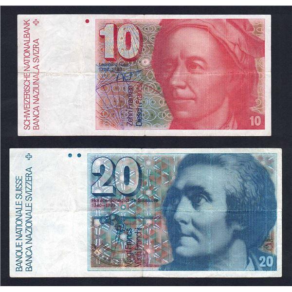 SWITZERLAND 10 & 20 Franken. 1979 & 1986. Sigs 54 & 57