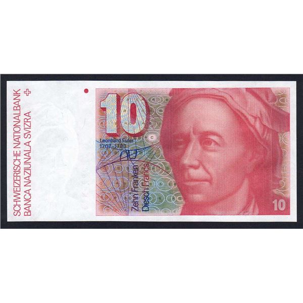 SWITZERLAND 10 Franken 1980. Sig 53