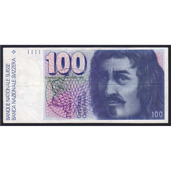 SWITZERLAND 100 Franken. 1975. Sig 48. 1ST DATE FOR TYPE