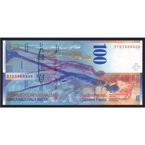 SWITZERLAND 100 Franken. 1997. Sig 68. SUPERB VERTICAL FORMAT
