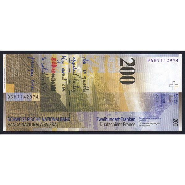 SWITZERLAND 200 Franken. 1996. Sig 68. HIGH VALUE