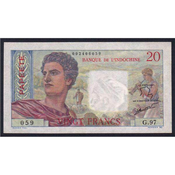 TAHITI 20 Francs. 1963. Sig de Flers-Robert