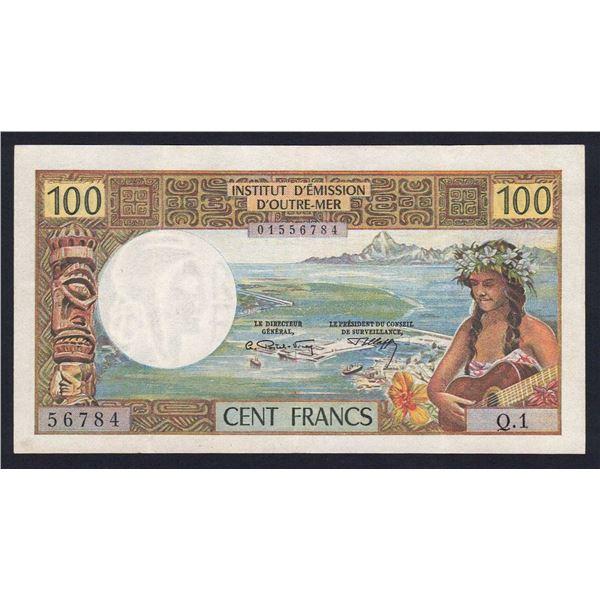 "TAHITI 100 Francs. 1969. WITHOUT ""REPUBLIQUE FRANCAISE"". Sig Postel Vinay-Clappier"