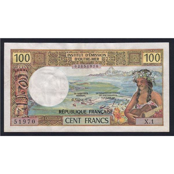 """TAHITI 100 Francs. 1971. With """"REPUBLIQUE FRANCAISE"""". ENGRAVED PRINTING"""