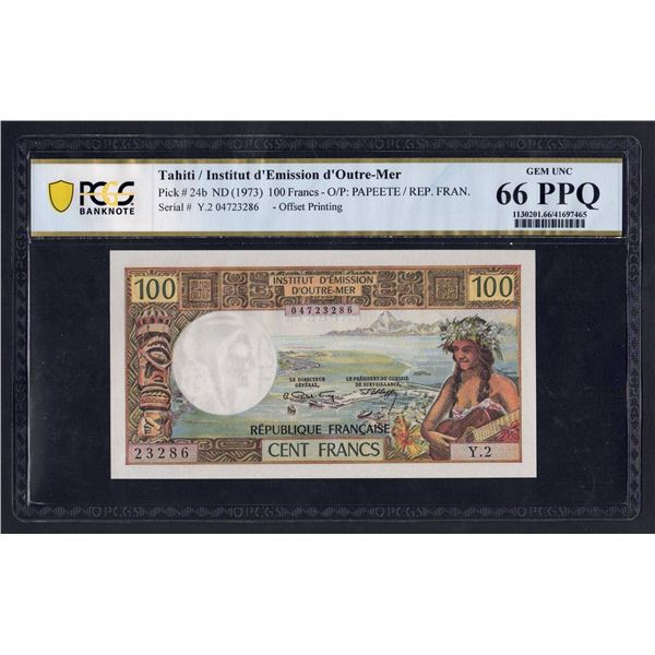 """TAHITI 100 Francs. 1973. With """"REPUBLIQUE FRANCAISE"""". OFFSET PRINTING"""