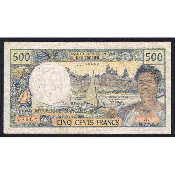 TAHITI 500 Francs. 1970. Sig Postel Vinay-Clappier
